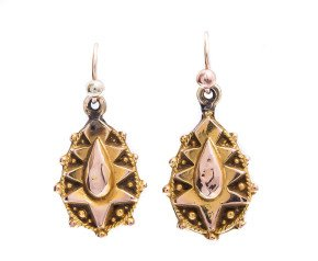 Antique Victorian 9ct Yellow Gold Drop Earrings