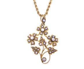 Antique 15ct Yellow Gold Split Pearl Pendant