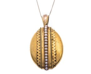 Antique Victorian Yellow Gold Split Pearl Locket