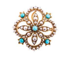 Antique Edwardian Split Pearl & Turquoise Pendant