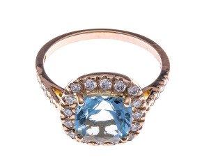 18ct Rose Gold 2.35ct Aquamarine & Diamond Cocktail Ring