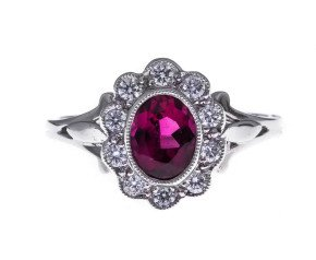 18ct Gold 0.80ct Rubellite Tourmaline & Diamond Cocktail Ring