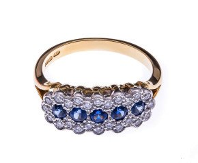 18ct Gold 0.53ct Sapphire & Diamond Eternity Ring