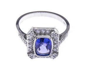 18ct White Gold 1.68ct Tanzanite & Diamond Cocktail Ring