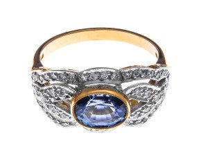 18ct Gold 1.50ct Sapphire & Diamond Dress Ring