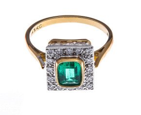 18ct Gold 0.38ct Emerald & Diamond Dress Ring