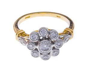 18ct Gold 0.70ct Diamond Floral Cluster Dress Ring