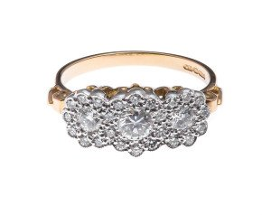 18ct Gold 0.70ct Diamond Cluster Dress Ring