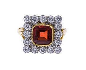 18ct Gold 1.00ct Fire Opal & Diamond Dress Ring