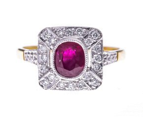 18ct Gold 1.00ct Ruby & Diamond Dress Ring