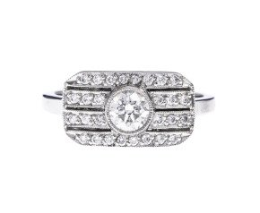 Platinum 0.54ct Diamond Art Deco Style Dress Ring