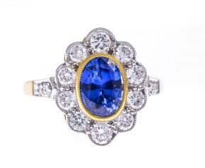 18ct Gold 1.24ct Sapphire & Diamond Cluster Ring