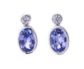 0.86ct Tanzanite & Diamond Earrings