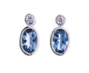 0.68ct Aquamarine & Diamond Earrings