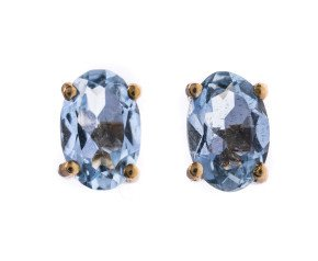 9ct Yellow Gold 0.80ct Aquamarine Solitaire Stud Earrings