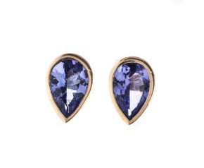 9ct Yellow Gold 0.70ct Tanzanite Solitaire Stud Earrings