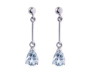 1.26ct Aquamarine Drop Earrings.