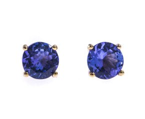 9ct Yellow Gold 0.88ct Tanzanite Solitaire Stud Earrings