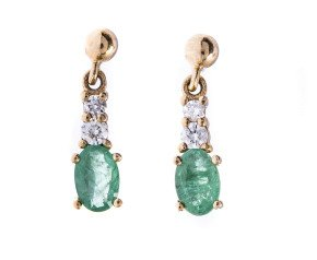 9ct Yellow Gold 0.80 Emerald & Diamond Earrings