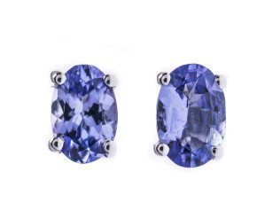 9ct White Gold 0.80ct Tanzanite Solitaire Stud Earrings