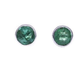9ct white Gold 0.95ct Emeralds Solitaire Earrings