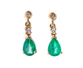 9ct Yellow Gold 1.60ct Emerald & Diamond Drop Earrings