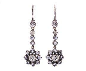 Vintage Silver Paste Drop Earrings