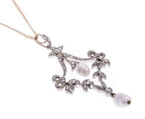 Diamond & Cultured Pearl Victorian style pendant