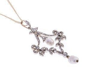 Diamond & Cultured Pearl Victorian style pendant