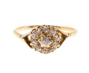 Antique Victorian 0.55ct Diamond Cluster Ring