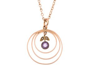 Antique 9ct Yellow Gold Amethyst & Split Pearl Pendant