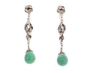Antique Arts & Crafts Amazonite screw back Earrings