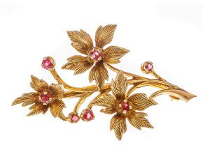 Pre-owned 1980's 9ct Yellow Gold Garnet Brooch