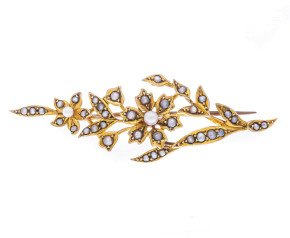 Antique 9ct Yellow Gold Split Pearl Brooch