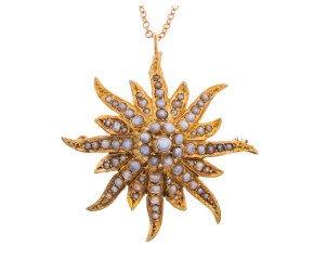 Antique Continental 14ct Yellow Gold Split Pearl Pendant