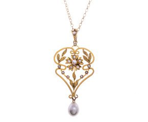 Cultured & Split Pearl Antique style pendant
