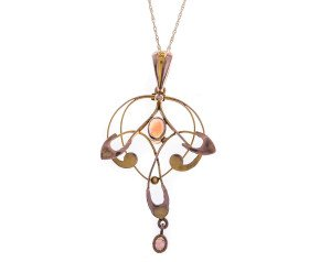 Antique Art Nouveau 9ct Yellow Gold Opal Pendant