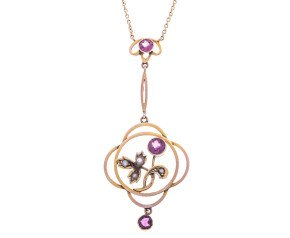Almandine Garnet & Split Pearl flower Pendant