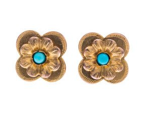 Victorian 9ct Gold Turquoise Forget-Me-Not Earrings