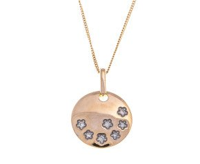 9ct Yellow Gold Diamond Disc Pendant
