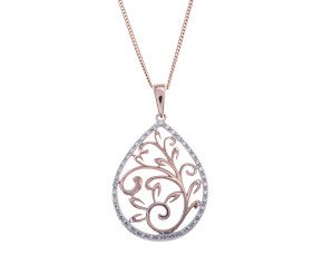9ct Rose Gold 0.25ct diamond Pendant