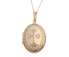 9ct Yellow Gold Embossed Cross Locket