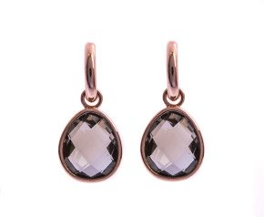 9ct Rose Gold Smoky Quartz Verstile Earrings