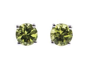 9ct White Gold 2.00ct Peridot Solitaire Earrings