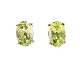 9ct Gold 1.00ct Peridot Oval Solitaire Earrings