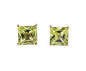 9ct Gold 1.40ct Peridot Square Solitaire Earrings