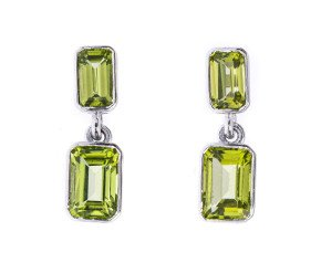 9ct White Gold 2.04ct Peridot Drop Earrings