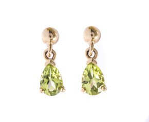 9ct Gold 0.80ct Peridot Pear Drop Earrings