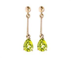 9ct Gold 1.60ct Peridot Pear Drop Earrings