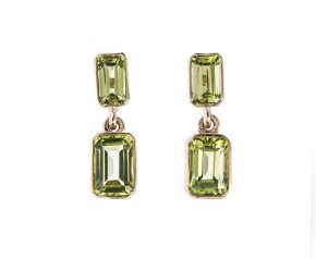 9ct Gold 2.04ct Peridot Drop Earrings